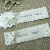 Farmer's Wife -Wedding Garter Set,Rustic Country Chic Wedding Garter Set,Keepsake & Toss garter Set