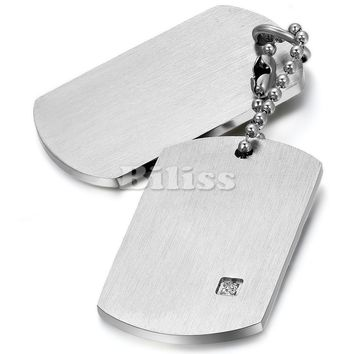 SHIPS FROM USA Unique Mens Jewelry 316L Stainless Steel Dog Tag Pendant with Zirconia Chain 22 inches for Men Party Gift colar masculino