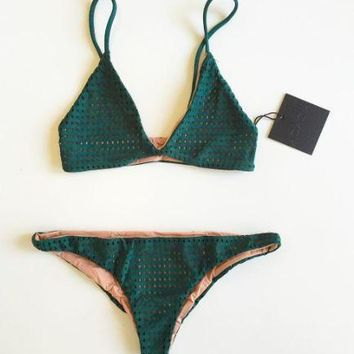 Comfortable High Quality Sexy Summer Green Bandages Swimwear [9463923661]