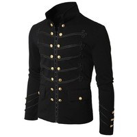 2018 Vintage Mens Gothic Steampunk Military Parade Jacket Slim Fit Tunic Rock Black Army Coat Long Sleeve Men Plus Size Jackets