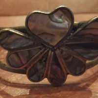 Vintage Mexican Cuff Alpaca Silver Abalone Heart Bracelet Mexico Jewelry