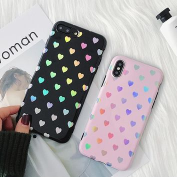 Fashion For iPhone 6 6S 7 8 Plus X Case Fashion Holographic Hearts Pink Black Soft Silicon IMD Phone Cases