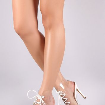 Transparent Lace-Up Open Toe Stiletto Booties