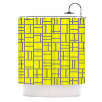 "Trebam ""Kutije V.4"" Yellow Gray Shower Curtain"