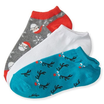 3-Pack Reindeer, Solid & Santa Ankle Socks