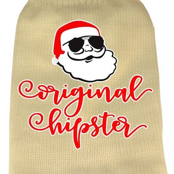 Original Hipster Screen Print Knit Pet Sweater Xs Cream