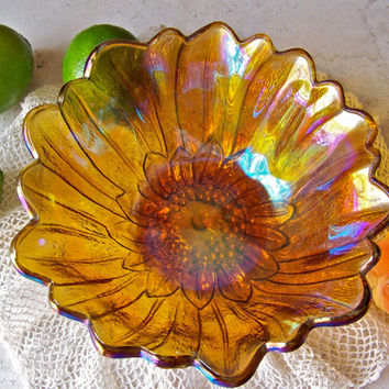 Vintage Carnival Glass Lily Pons Bowl Rainbow Iridescent Bowl Fruit Bowl Serving Bowl