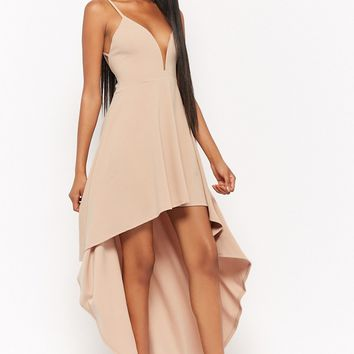 Plunging High-Low Dress