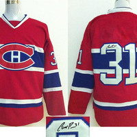 Autographed Montreal Canadians 31 Carey Price Red Ice Hockey Jerseys 2014 Hot Playoffs Hockey Wears New Arrival Signed Hockey Uniforms