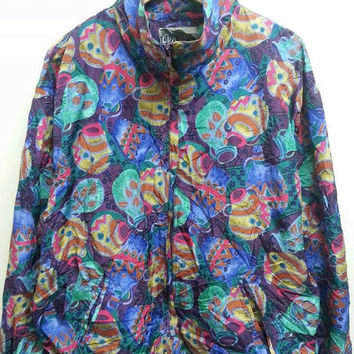 Awesome Vintage 1980s Out Brooks Abstract Silky Hip Hop Jar Print Design Swag Jacket