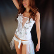Ready to ship SALE . 34C / Medium . Mermaid Wedding Corset , Boned Flower and Seashell Corset, Overbust White Pearl Bustier .