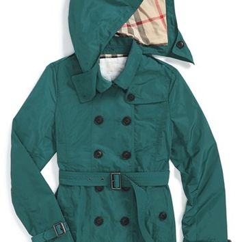 Girl's Burberry 'Grangemoore' Showerproof Trench Coat,