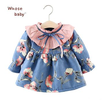 Newborn Baby Dress Spring Flowers Printed Girls Tutu Clothes Long Sleeve Party Dresses for Girls Thicken Winter Baby Clothing