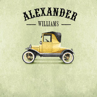 Personalized with Name 8x10 Classic Vintage Style Yellow Car Room Wall Art Print by Caramel Expressions
