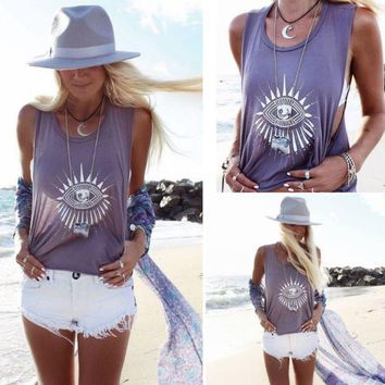 PEAPDQ7 Summer Ethnic Eyes Print Sleeveless T Shirt Tank Top