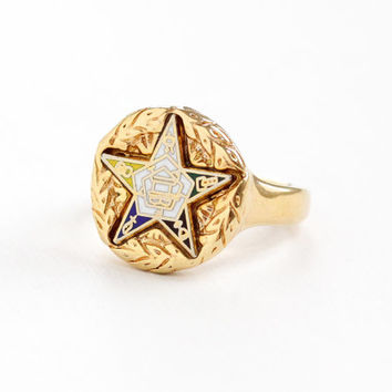 Vintage 18k Yellow Gold Plated Order of the Eastern Star Ring - Masonic Size 6 Enamel Statement OES Costume Jewelry