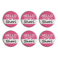 Shari Hello My Name Is Plastic Resin Button Set of 6