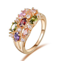 ORSA Luxury 18K Rose Gold Plated Colorful AAA Austrian Zircon Crystal Mona Lisa Ring For Women Birthday OMR01