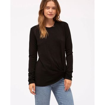 Fleece Twist Front Sweatshirt Black