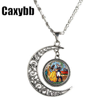 2017 Beauty and Beast movie Rose stain glass style deisgn pendant art necklace hwd