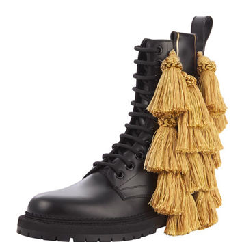 Burberry Aster Tassel Lace-Up Bootie, Black