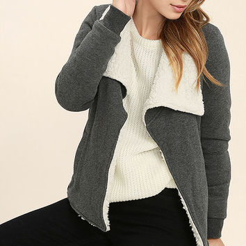 Element Eden Cozee Heather Grey Faux Shearling Jacket