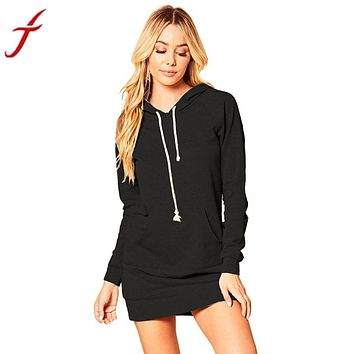 Feitong Autumn Sweatshirt Dress Women Ladies Hooded Long Sleeve Hoodies One Pocket Straight Jumper Mini Dress vestido de festa