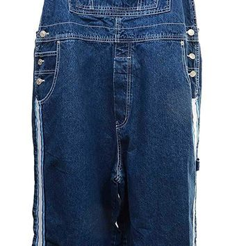 Plus Size Boyfriend Baggy Overalls Women's Classic Blue Stripe Denim