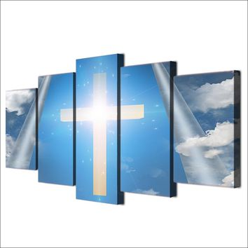 5 Piece Canvas Art Jesus Christian Cross Sky Wall Print Wall Panel Picture