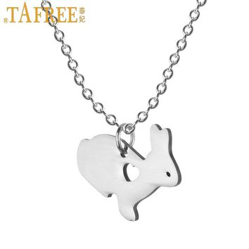TAFREE 2017 little bunny statement necklace lovely rabbit stainless steel animal pendant women kids jewlery Easter gifts SKU14