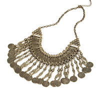 FOREVER 21 Coin Fringe Necklace
