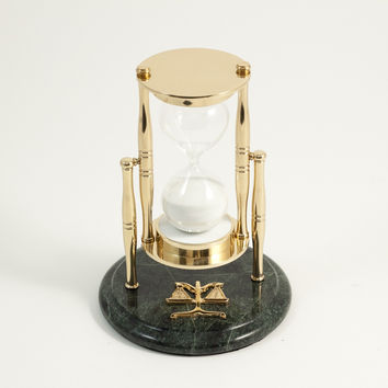 """30 Minute """"Legal"""" Themed Brass and Green Marble Sand Timer."""