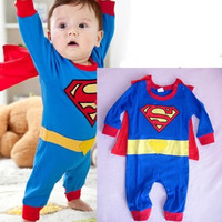 Newborn Baby Boy Kids Toddler Infant Children Photo Props Photography Superman Cartoon Costume Cloak Romper Clothes 0-6-12-18-24 Months 4 Size Avaliable = 1946122820