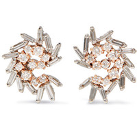 Suzanne Kalan - 18-karat white and rose gold diamond earrings