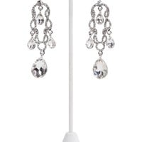 Long Dangling Stone Earrings with Teardrop Design