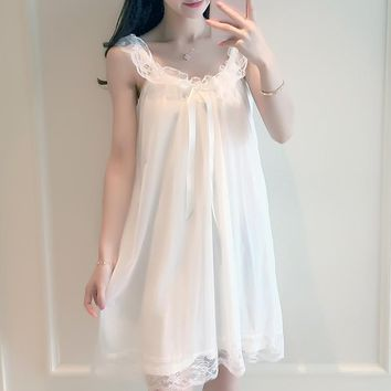 2018 new vintage nightgowns v neck ladies dresses princess white sexy sleepwear lace home dress comfortable long nightdress