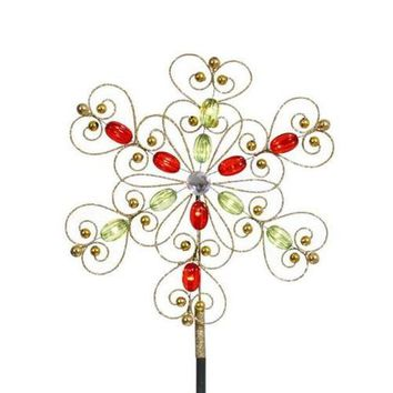 """12"""" LED Lighted Gold Glitter Snowflake Christmas Tree Topper - Warm Clear Lights"""
