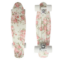 "CHI YUAN Mini Cruiser Board Plastic Skateboard 22"" X 6"" Retro Longboard Skate Long Board Floral Graphic Printed"