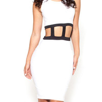 White Sleeveless Cut-Out Bodycon Dress