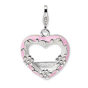 925 Sterling Silver Pink Enameled Heart Shaped Picture Frame Charm
