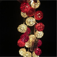 3M length  20pcs Ivory White/ Red Handmade Rattan Balls String Lights Fairy Party Home Wedding Patio Decor 2*AA battery Powered