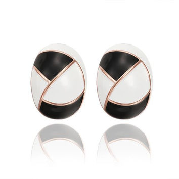 18K Rose Gold Inline Acorn Shaped Onyx & Ivory Stud Earrings Made with Swarovksi Elements