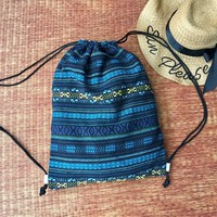 Aztec Boho Drawstring Backpack Shopping Bag Woven Hippie Festival Tribal Vegan Bucket handmade Beach Tote Nepali bag Gift for Men Women chic