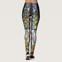 Multicolored stained glass pattern leggings