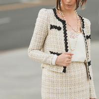Bianca Gold and Cream Tweed Skirt