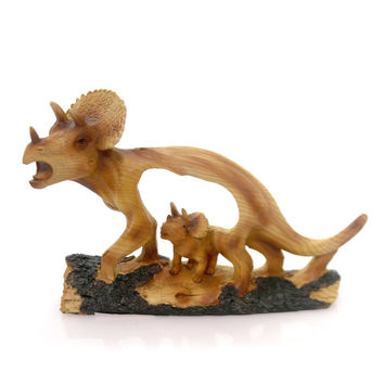 Animal Triceratop Woodlike Carving Figurine