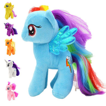 New 18cm Minecraft My Cute Lovely Little Horse Plush Toys PP Cotton Poni Doll Toys for Children Toys Colorful Rainbow Color Hors