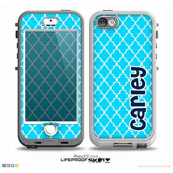 The Navy Blue Name Script Turquoise Morocan Pattern Skin for the iPhone 5-5s nüüd LifeProof Case