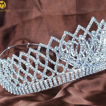 "Wedding Bridal 3.5"" Tiaras Brides Crowns Clear Austrian Rhinestones Contoured Women Headband Pageant Prom Party Costumes"