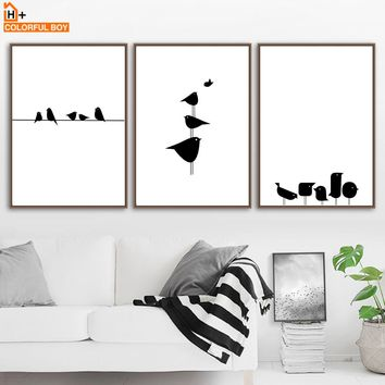 Posters And Prints Black White Bird Line Canvas Painting Wall Art Kids Room Nordic Poster Wall Pictures For Living Room Decor